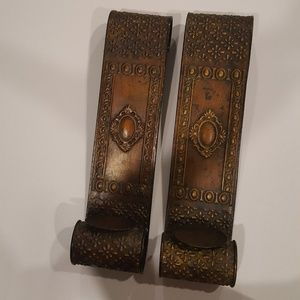 Scroll 2 Bronze Pair of Candle Holders